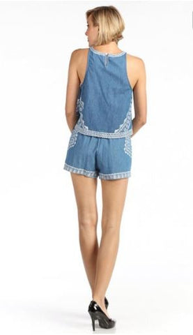 Aztec Print Denim Chambray Shorts.