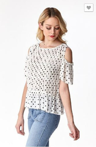 Polka Dot Cold-Shoulder Top