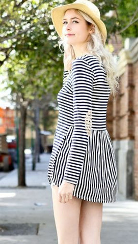 Long Sleeve Elbow Patch Stripe Top