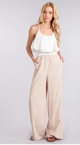 Pin Stripe Jumpsuit with Ruffle Front Top