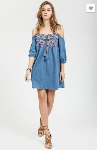 Cold Shoulder Denim Embroidered Dress