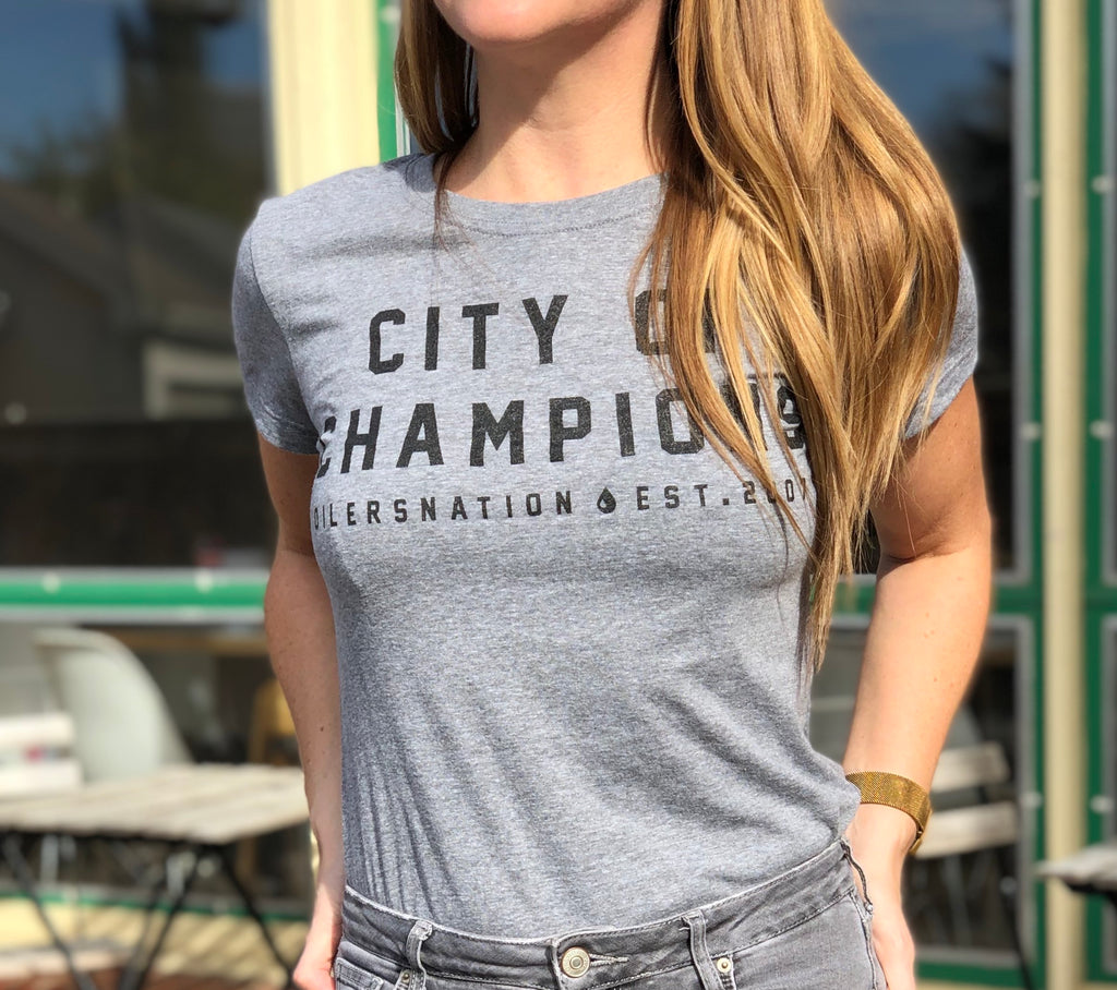 City Of Champs Ladies Tee Grey
