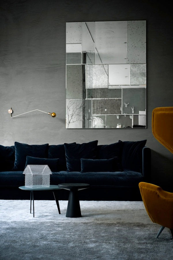 Tis the season velvet in modern rooms 212 concept for Black furniture with grey walls