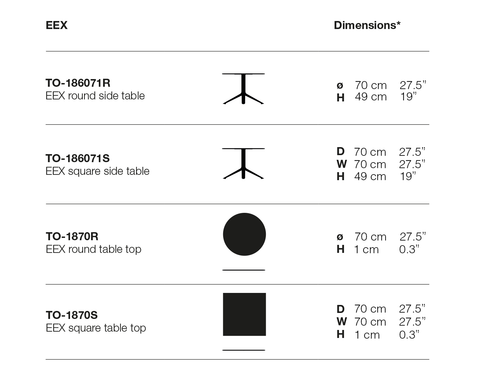 Eex Cocktail Table Dimensions
