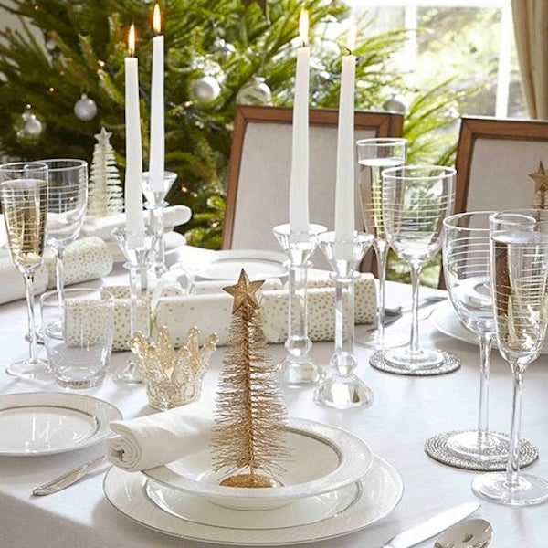Modern christmas table setting ideas concept