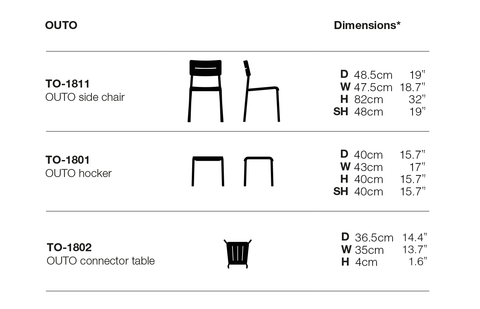 Outo Side Chair dimensions