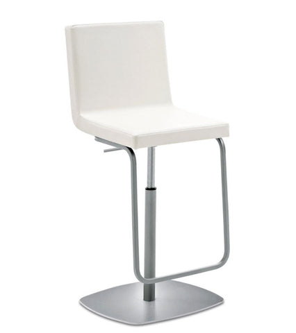 Leatherette upholstered Piston swivel stool in white by Domitalia