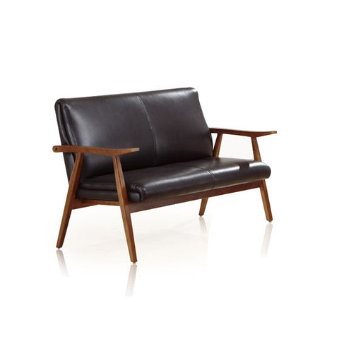 Buy Minimal Mid-Century Modern Wooden Settee In Black Leather | 212Concept