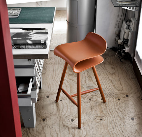 Buy S Shaped Solid Wood Legged Counter Stool | 212Concept