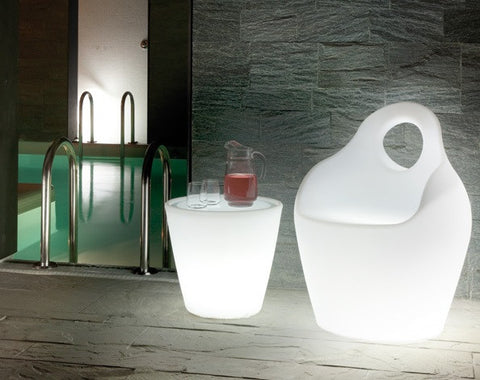 Illuminated Fluorescent Light Armchair in Translucent Shell