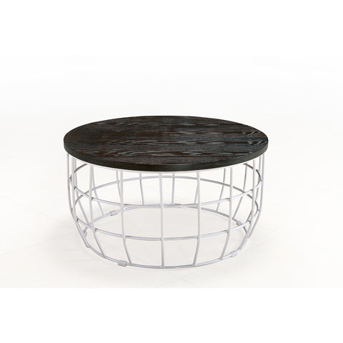 Buy Caged Metal Base With Round Slab Ash Veneer Coffee Table | 212Concept
