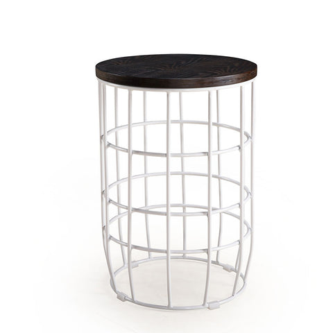 Buy Round Ash Wood Top Side Table With Caged Metal Base | 212Concept