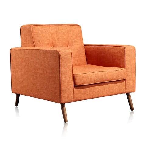 Buy Button Tufting Orange Fabric Upholstered Baxter Lounge Chair | 212Concept