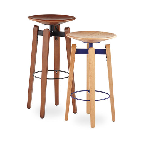 Buy Industrial Design Wooden Swivel Seat Bow Stools | 212Concept