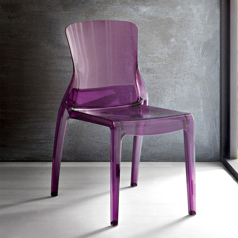 Transparent polycarbonate Outdoor Stacking Crystal Chair in Violet Color