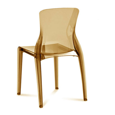 Transparent polycarbonate Outdoor Stacking Crystal Chair in Amber Color