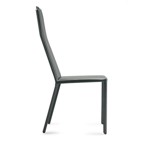 Modern sturdy Cliff Side chair with steel frame covered in black regenerated leather