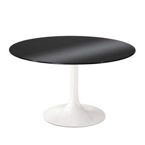 Buy Round Black Glass Table with White Base | 212Concept