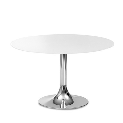 Buy Round White Glass Table with Chrome Base | 212Concept