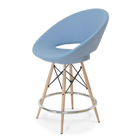 Shop For Crescent MW Counter Stool Sky Blue PPM Leatherette | 212Concept