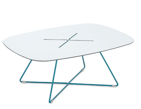 Buy White Laminate Top Coffee Table in Turquoise | 212Concept