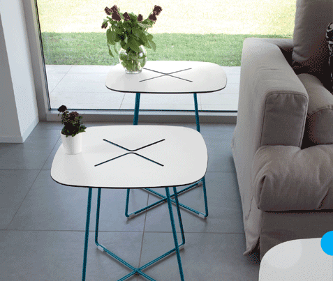 Buy White Laminate Top Side Table in Turquoise Frame | 212Concept
