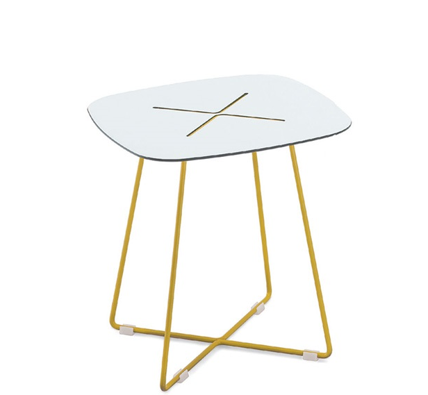 Buy White Laminate Top Side Table in Yellow Frame | 212Concept