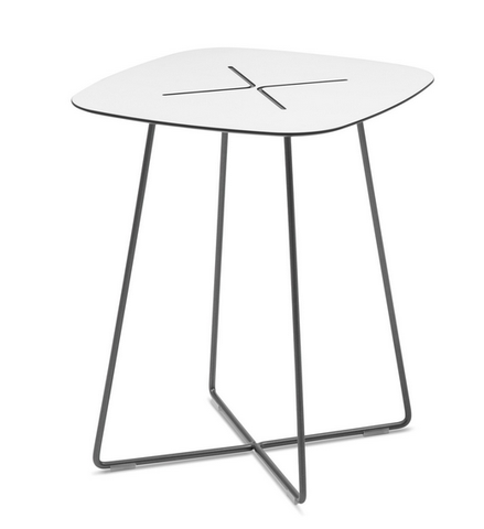 Buy White Laminate Top Side Table in Grey Frame | 212Concept