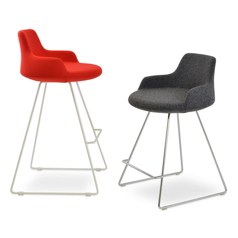 Buy Ample Round Seat Sled Base Modern Stool | 212Concept