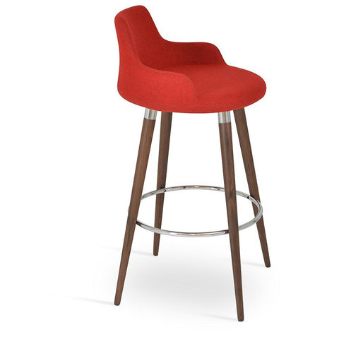 Buy Dervish Wood Base Upholstered Barstool | 212Concept