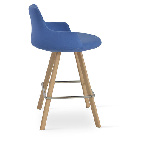 Buy Low Back Ample Round Seat Wood Legged Stool | 212Concept