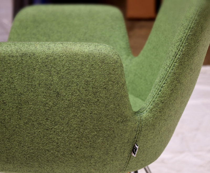 Buy Enveloping Design Daisy Sled Base Armchair in Green Wool | 212Concept
