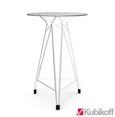 Diamond modern bar table with clear glass top and Chrome legs