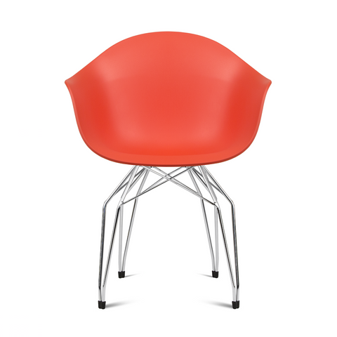 Buy Mid-Century Armchair Design With Diamond Shaped Legs in Red | 212Concept