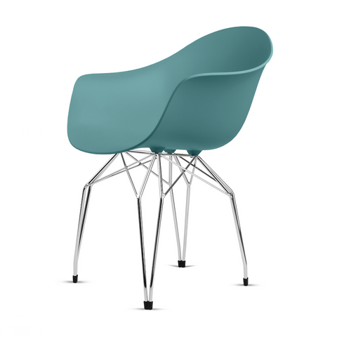 Buy Mid-Century Armchair Design With Diamond Shaped Legs in Blue | 212Concept