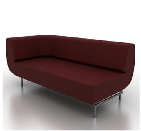 Durgu Modern sofa modular right corner in red fabric