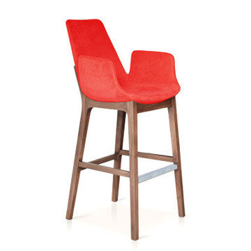 Buy Eiffel Wood Arm Stool Red Fabric | 212Concept