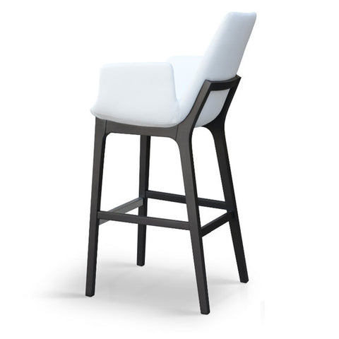 Buy Eiffel Wood Arm Stool White Leatherette | 212Concept