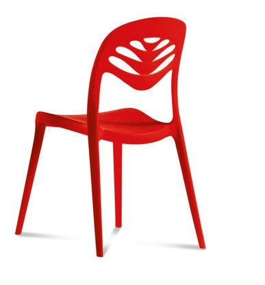 Modern Stacking Outdoor Fiberglass chair in red