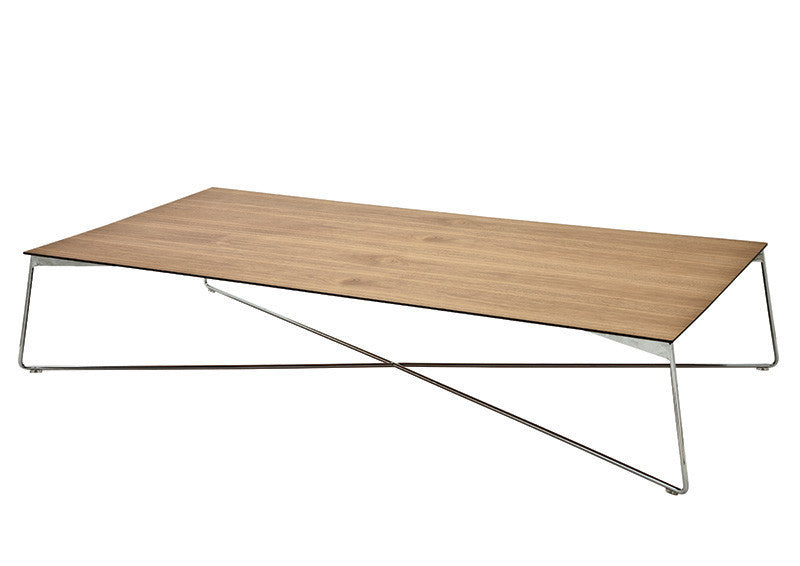 Buy Rectangular Wooden Coffee Table with Custom Color Metal Base | 212concept