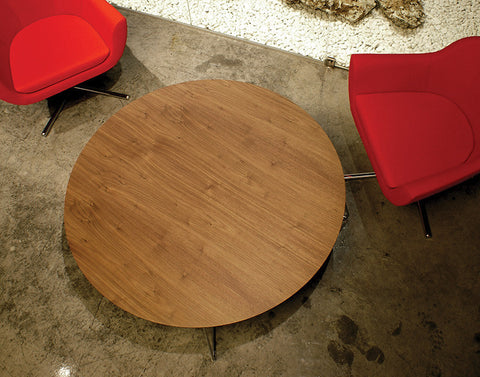 Buy Round Wooden Coffee Table with Custom Color Metal Base | 212concept