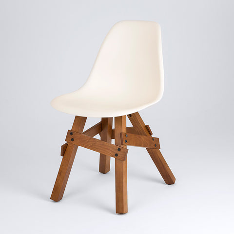 Modern Icon side chair in ivory shell with walnut wood legs front view