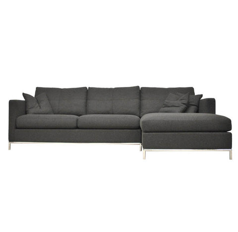 Istanbul modern sectional in dark grey wool