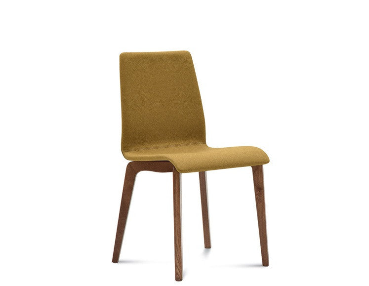 Modern wooden base Jude-L Side dining chair in Amber fabric by Domitalia