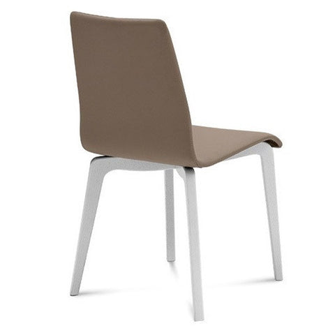 Modern wooden base Jude-L Side dining chair in Taupe leatherette by Domitalia