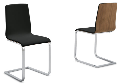 Modern walnut wood Frame Juliet-SL Chair with cantilever base in black leatherette