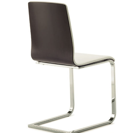 Modern wenge wood Frame Juliet-SL Chair with cantilever base in white leatherette