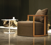 Kav Lounge Chair brown fabric side view by B&T Design