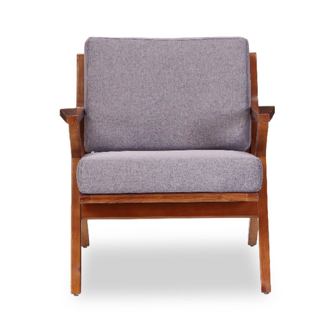 Buy Solid Ash Wood Frame Martelle Lounge Chair in Grey Fabric | 212Concept