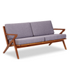 Buy Solid Ash Wood Frame with Grey Fabric Upholstered Martelle Sofa | 212Concept